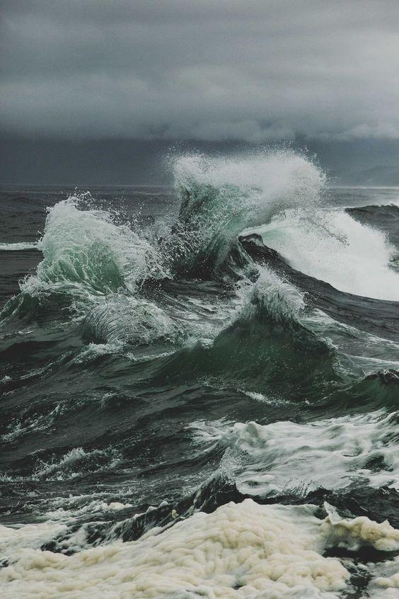 vague, eau, océan