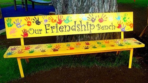 banc, amitié, mains