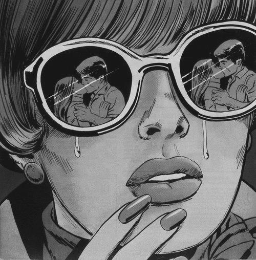 femme, larmes, baiser