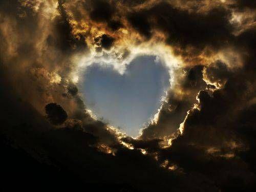 coeur, ciel, nuages