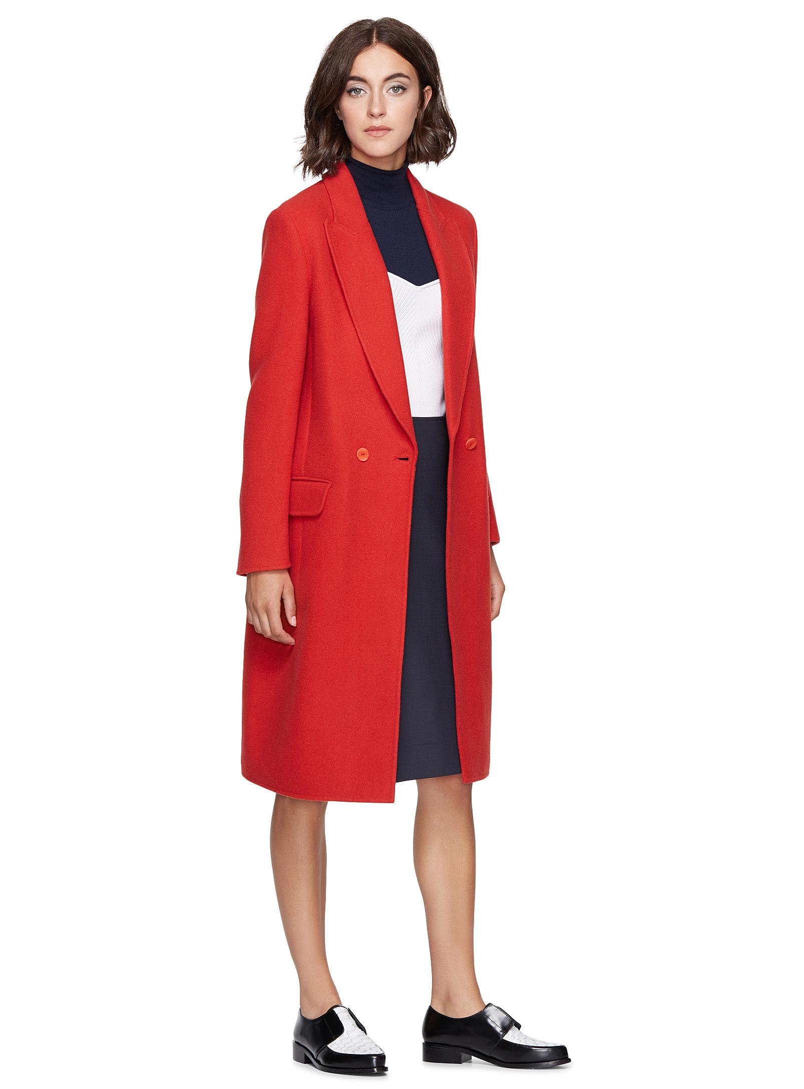 manteau long rouge simons