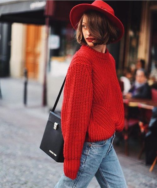 chapeau, rouge, sacoche