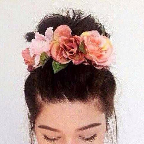 fleurs, chignon, tête