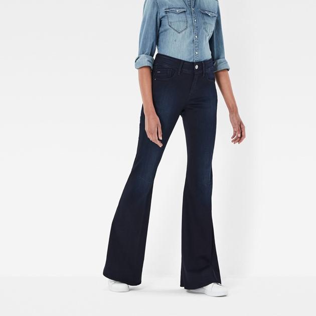 jeans, évasé, noir