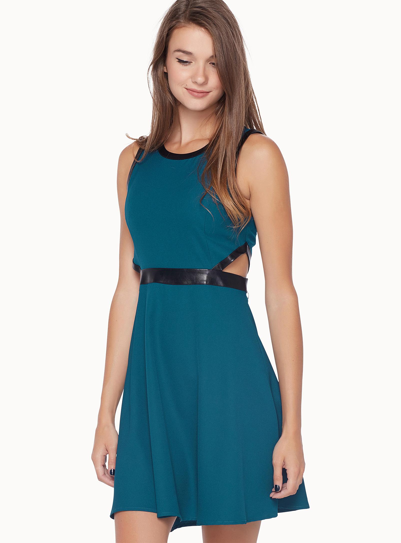 robe, bleue, lignes
