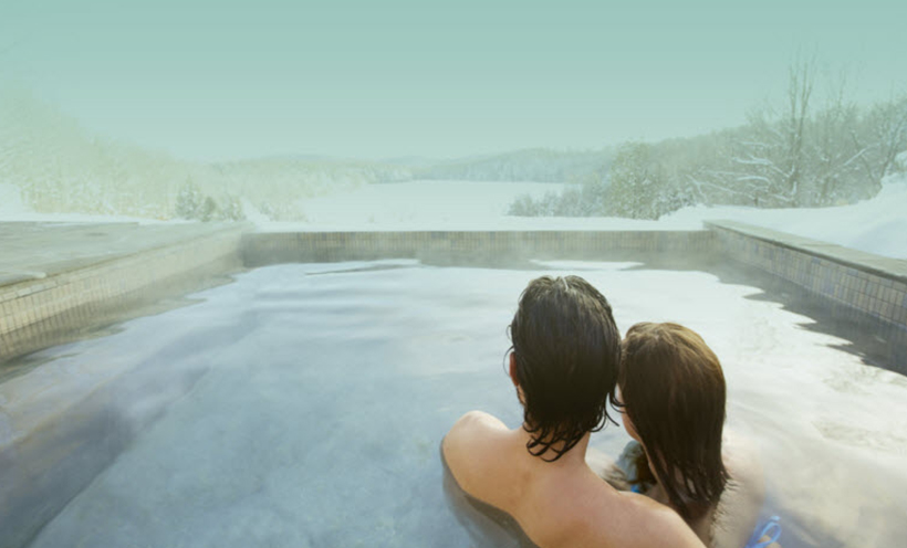 spa, amoureux, hiver