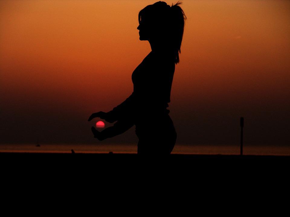 femme, soleil, repos