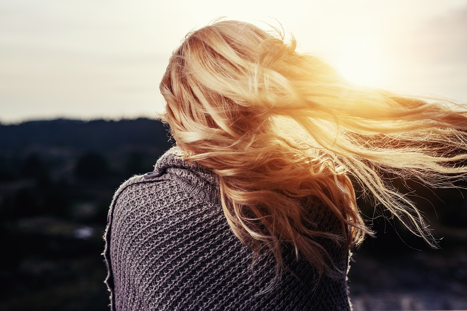 femme, lumière, cheveux