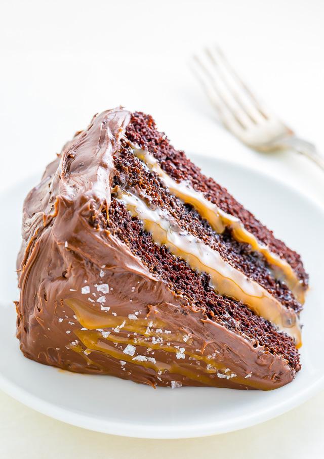 gâteau, chocolat, caramel