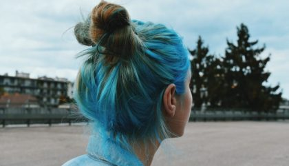 blue, girl, hair, don't care