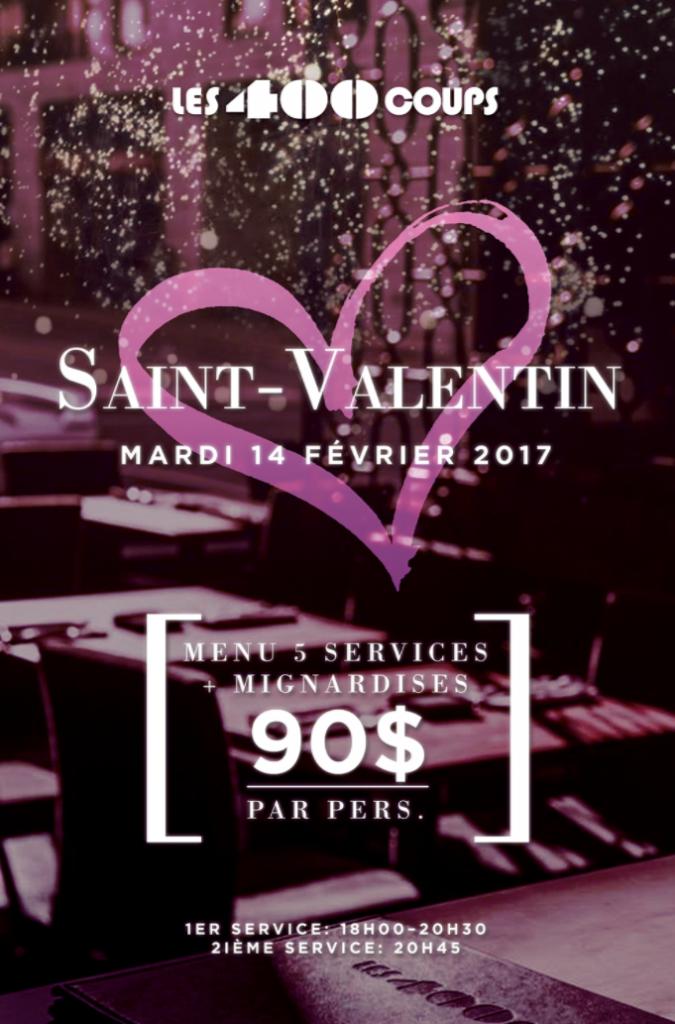 les 400 coups, restaurant, saint-valentin