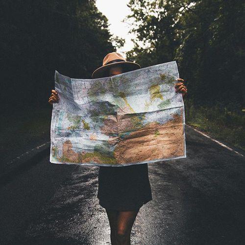 travel, girl, map