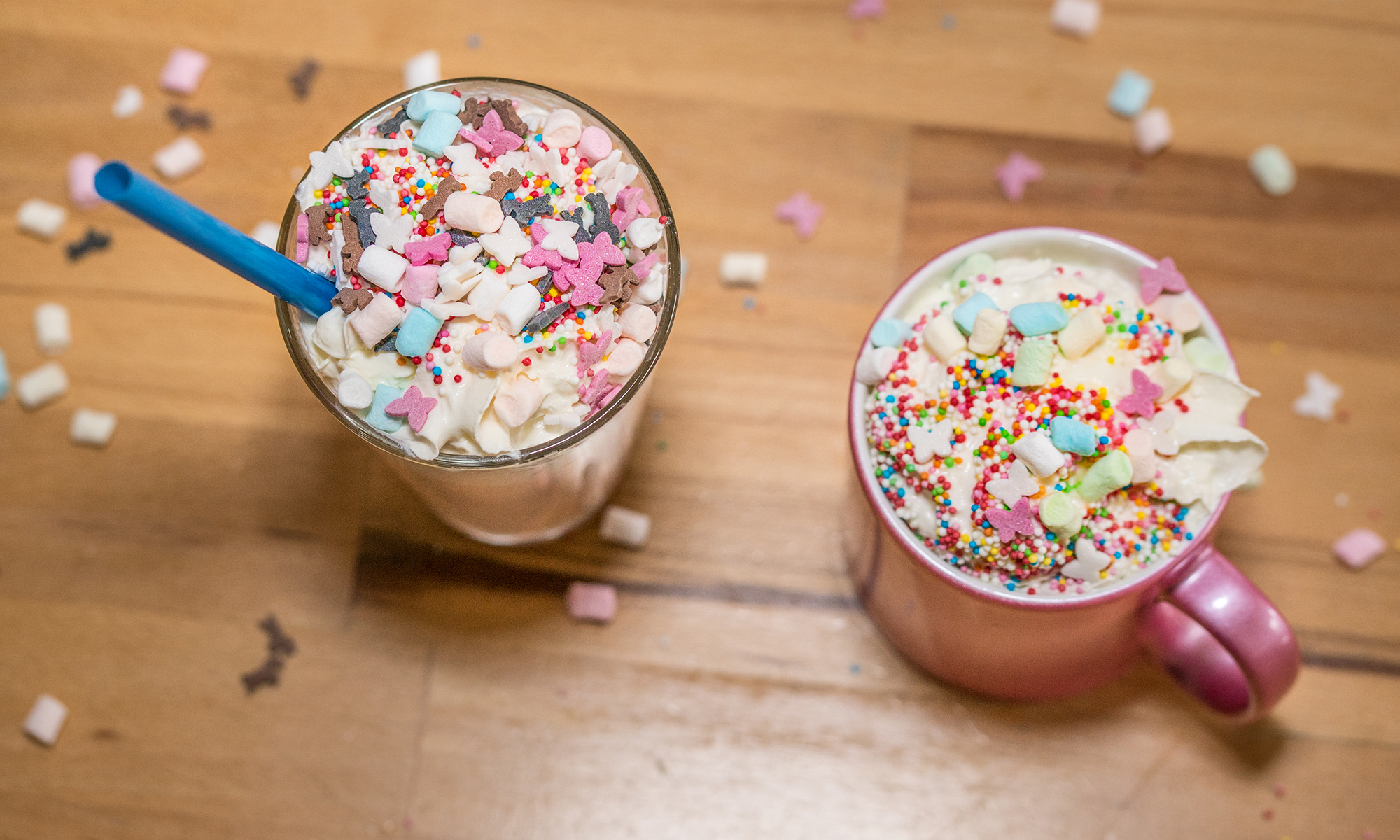 frappuccino licorne, bouffe multicolore