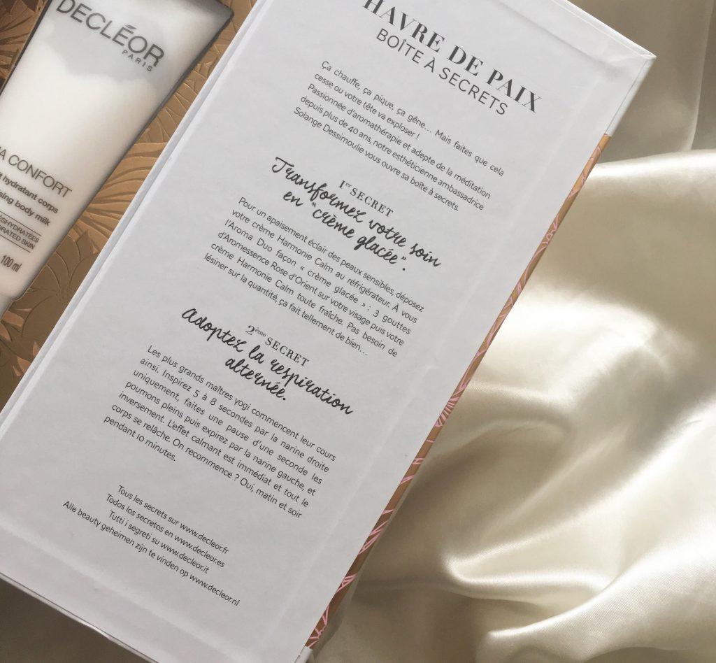 Decléor, aromathérapie, Decléor Paris, produits pour la peau, essences pour le corps, corps, esprit, peau, pour une peau apaisée et réconfortée, havre de paix, boite des secret, article, blog le cahier