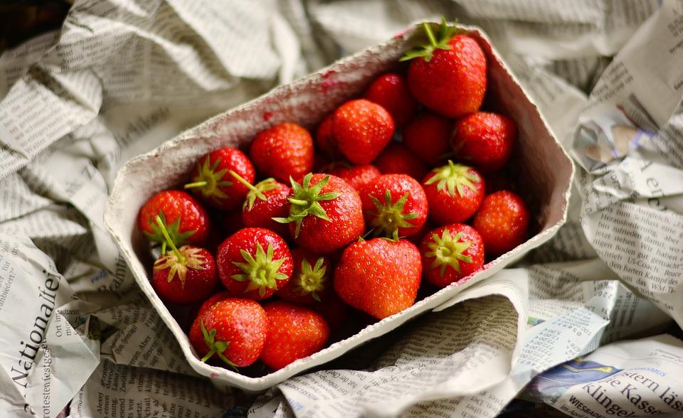 fraises, fruits, alimentation saine