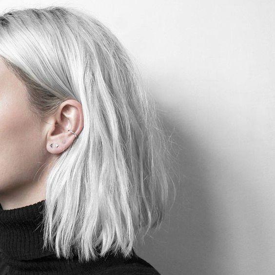 gris, blanc, tendance, cheveux