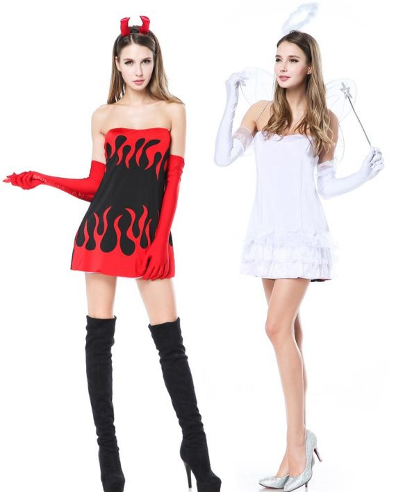 ange, demon, costume, halloween