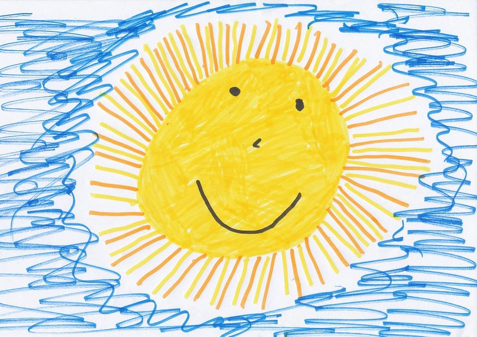 enfant, soleil, dessin