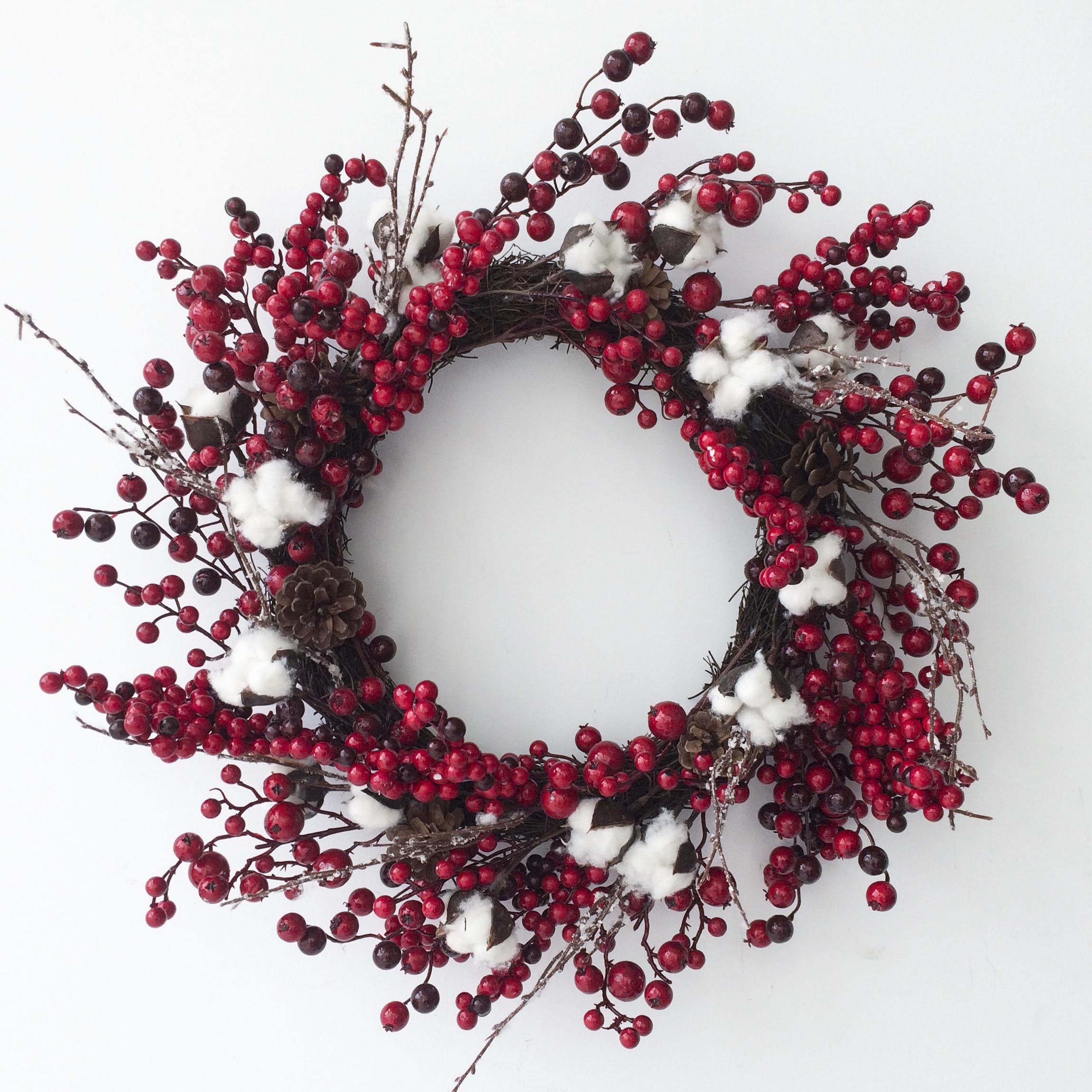 couronne, fleur de coton, baies rouges, noël