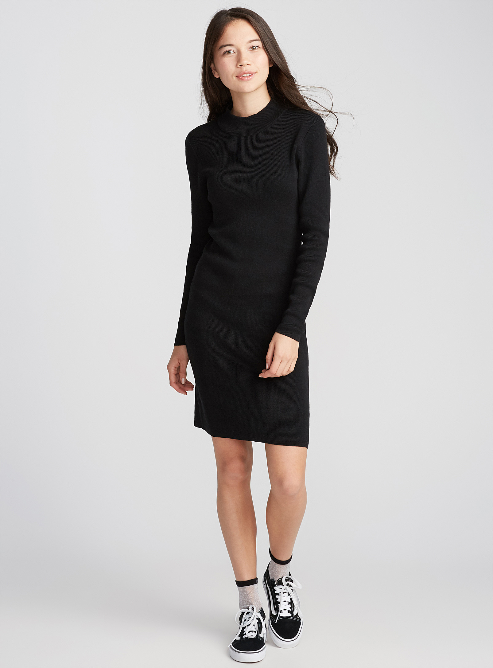 robe noire tricot, simple, simons