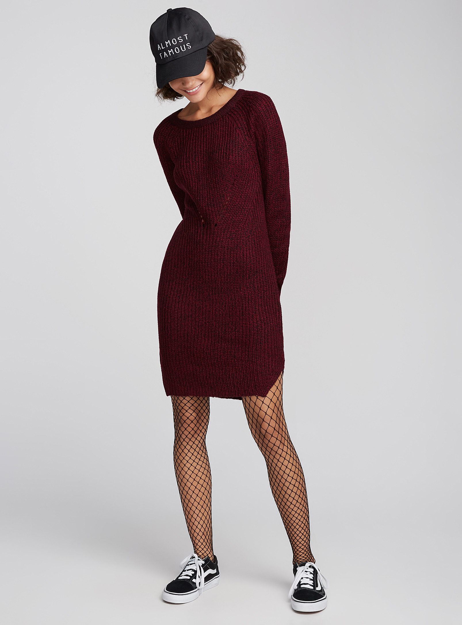 robe rouge, rubis, tricot, simons