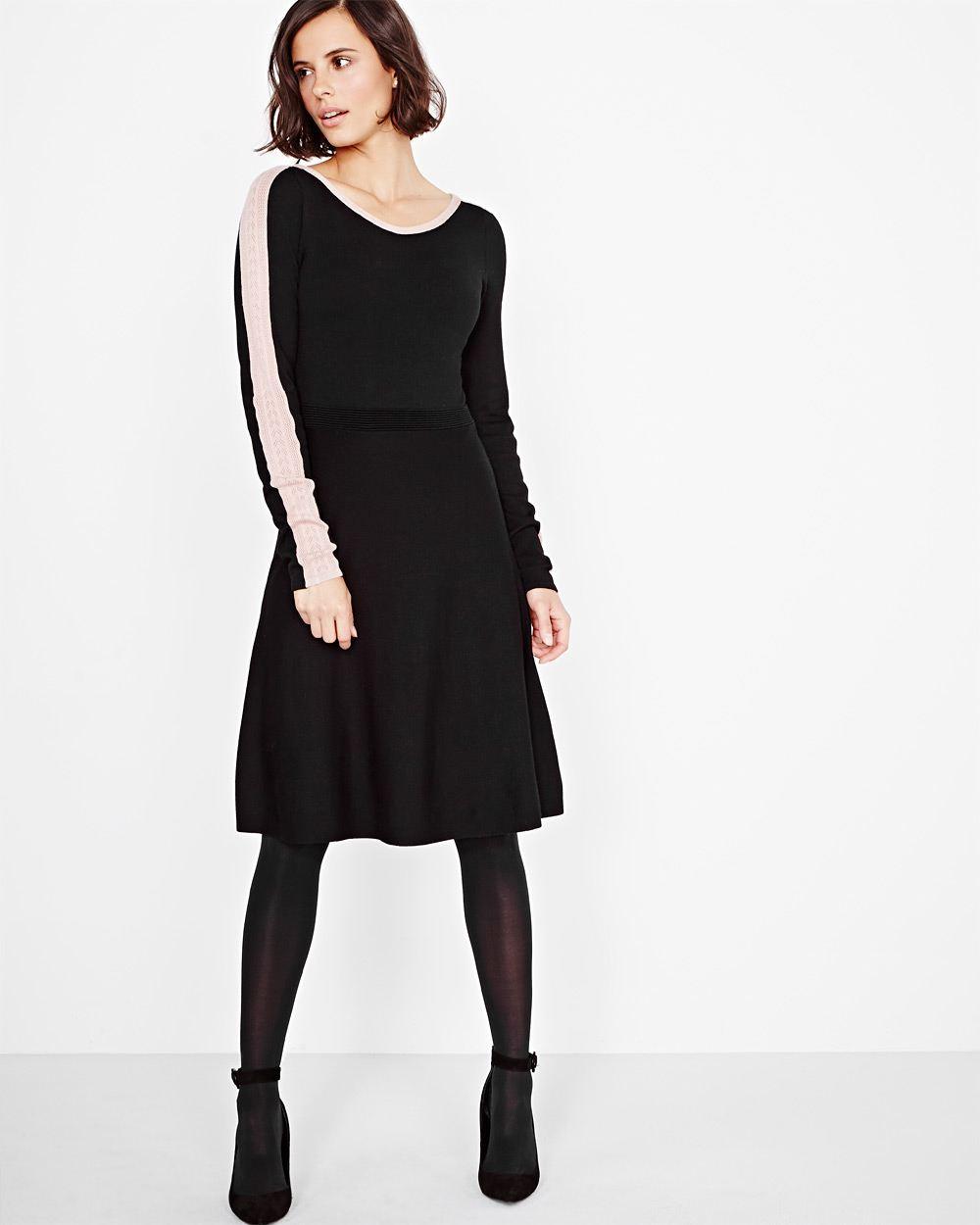 robe évasée, tricot, dentelle, rw&co
