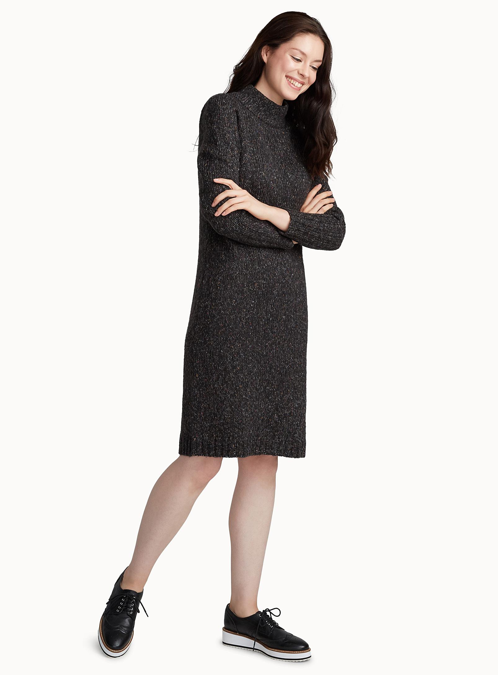 robe tricot, col montant, chiné, simons