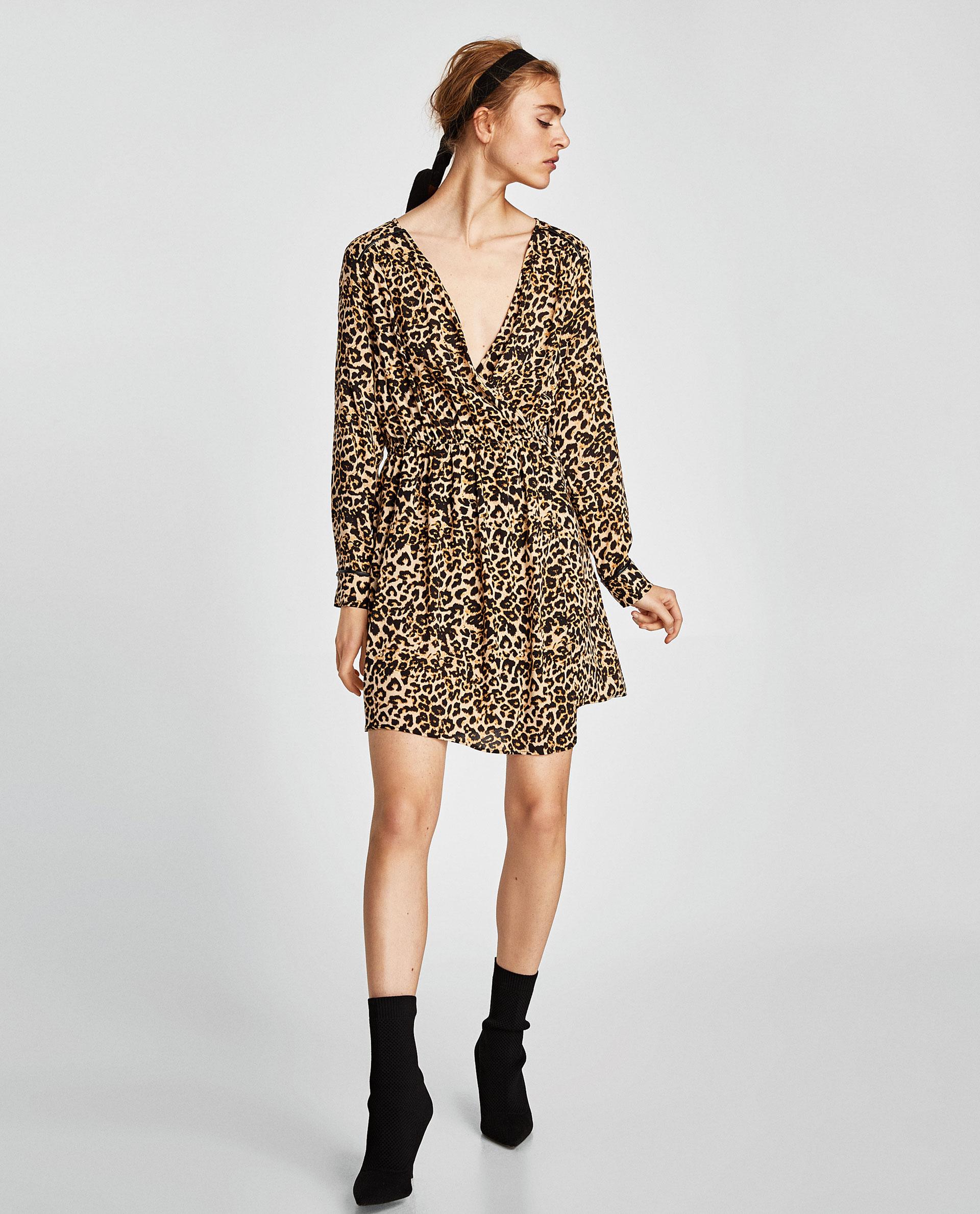 zara, leopard, fêtes, robe