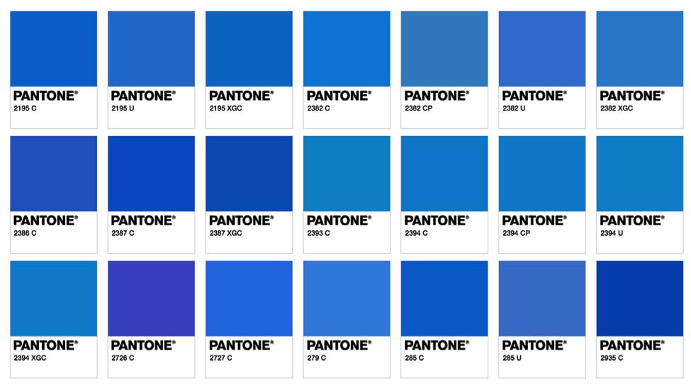 couleur pantone, bleu, différentes teintes
