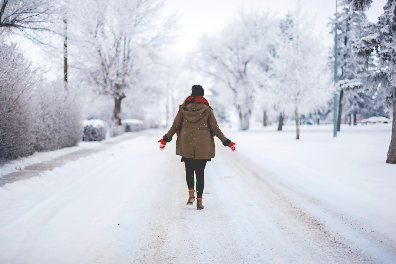 neige, heureuse, bonheur, première neige, ce qui me rend heureuse