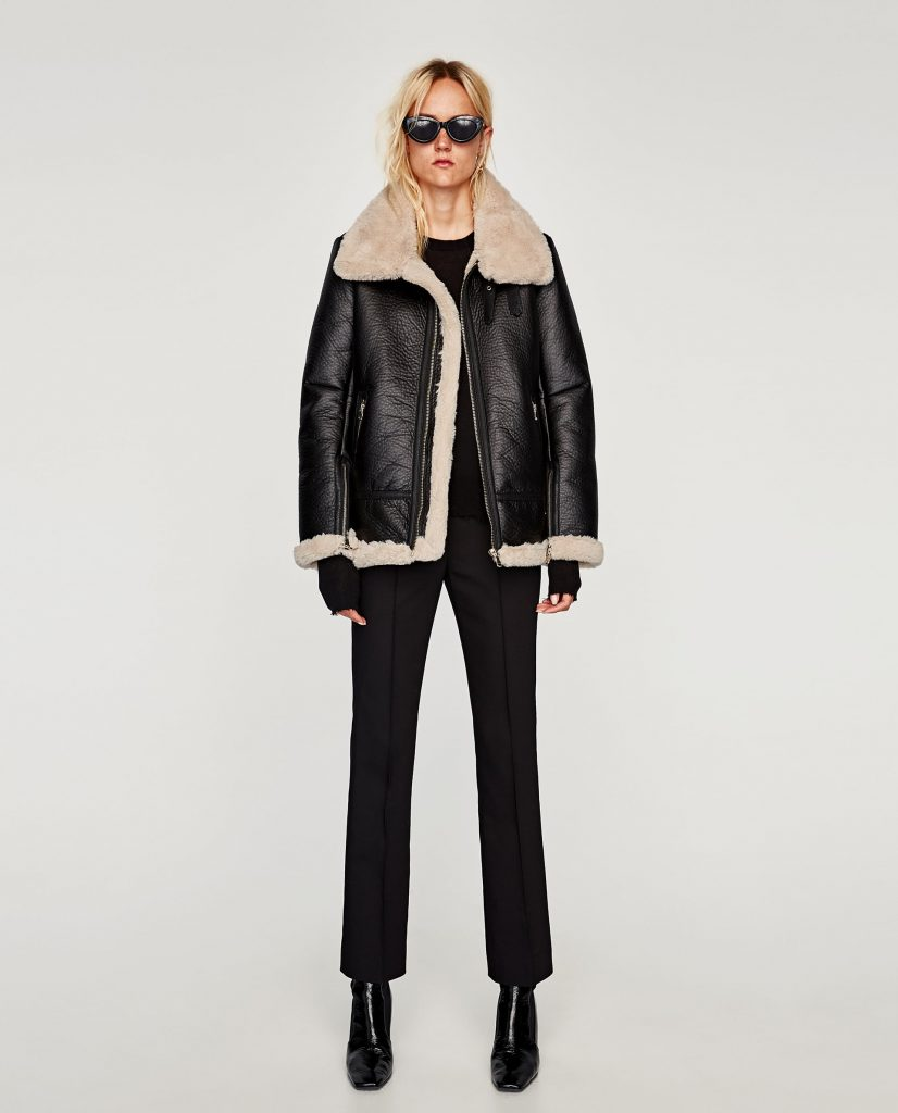 manteau, cuir, zara