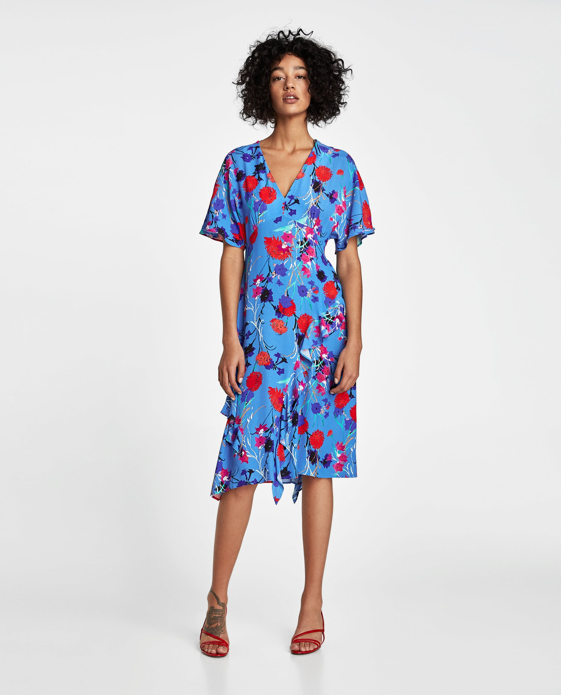 zara robe bleu fleurs boho