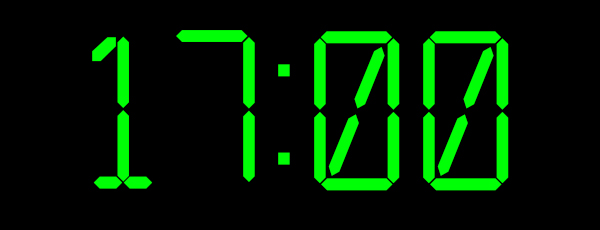 heure cadran, 17h,