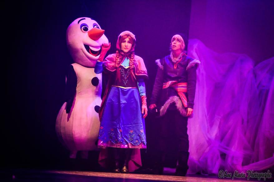théâtre, reine des neiges, Olaf, Anna, Kristoff