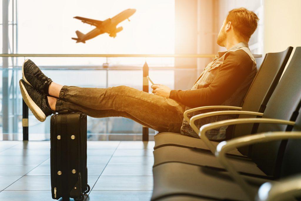 avions, aéroport, voyage, attente, bagages, homme, vols