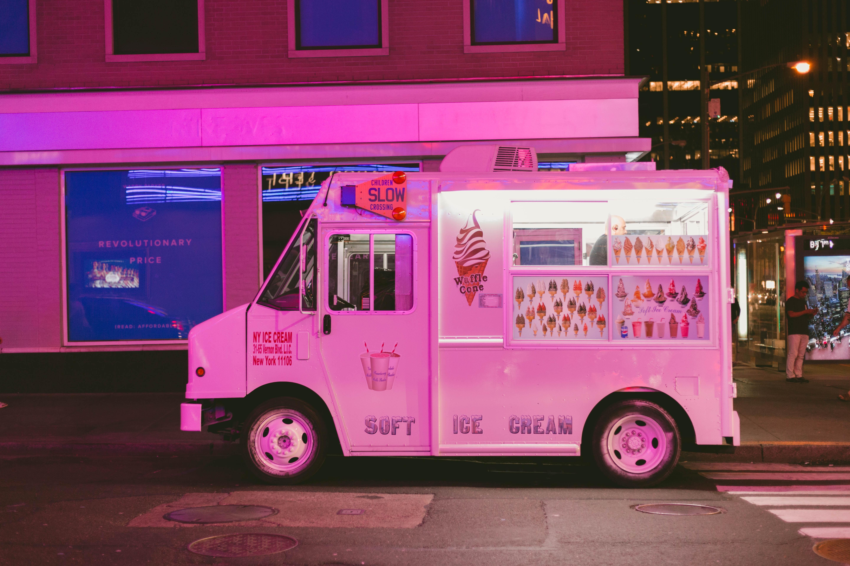 camion crème glacée rose