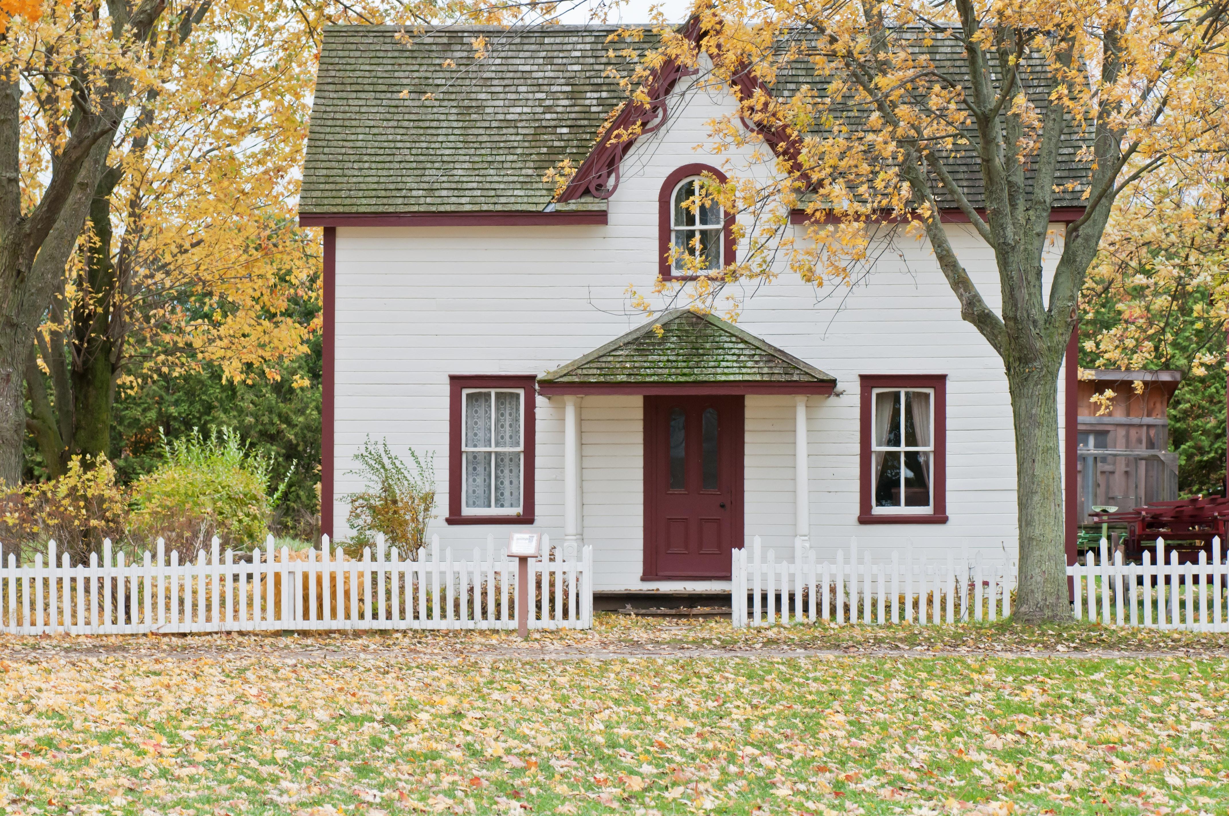 maison blanche automne feuilles jaunes