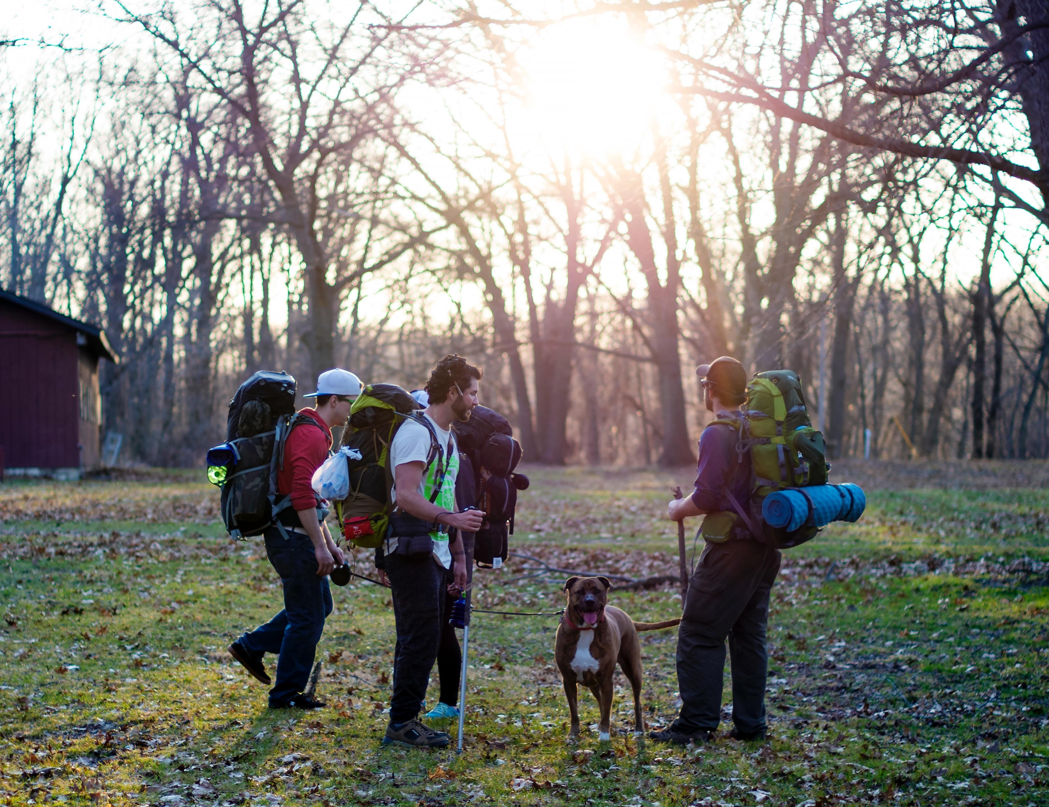 randonnée hiking chien 3 hommes sacs à dos