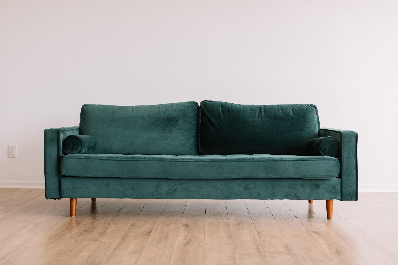 sofa vert forêt velours