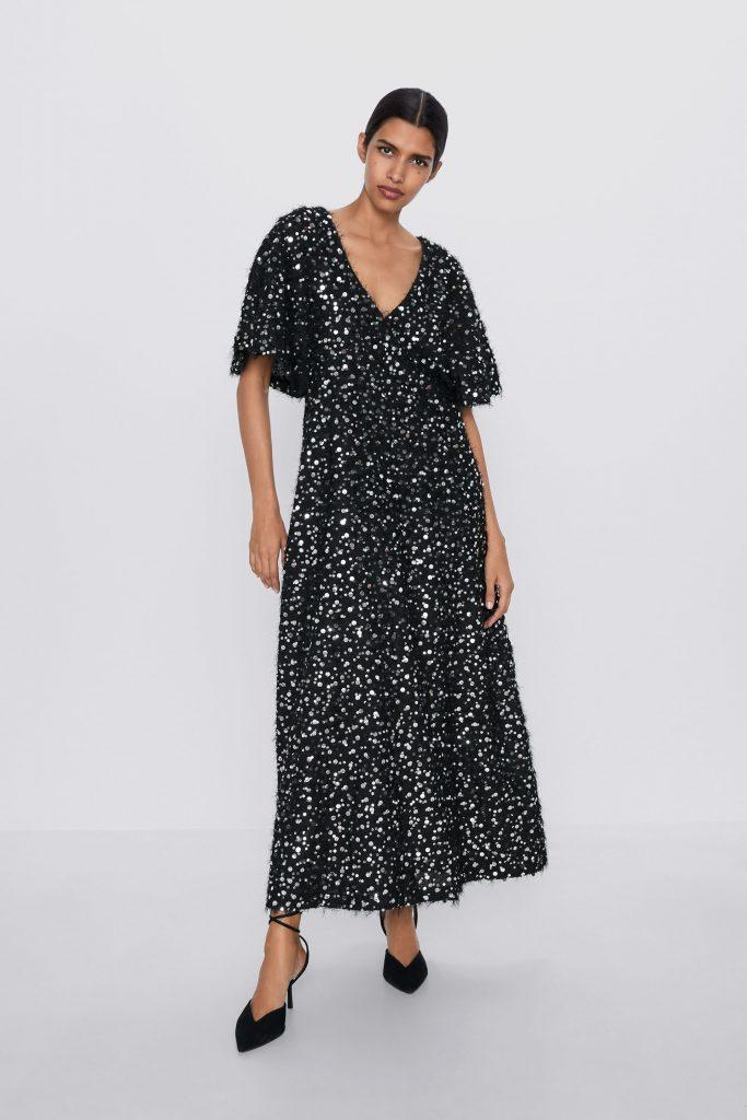 zara robe noire à paillettes