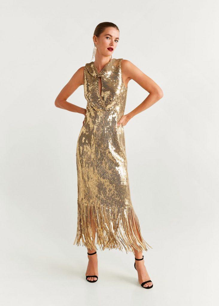 mango robe dorée franges