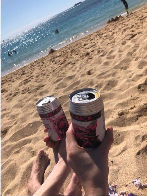 personnes qui tiennent deux cannettes de bière sur la plage