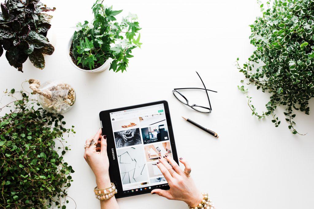 plantes avec lunettes te tablette
