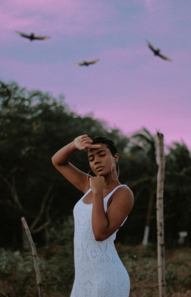 femme robe blanche avec oiseaux ciel mauve
