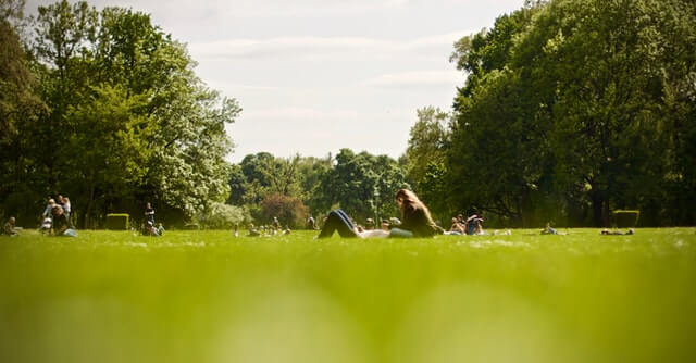 parc verdure femme couchée