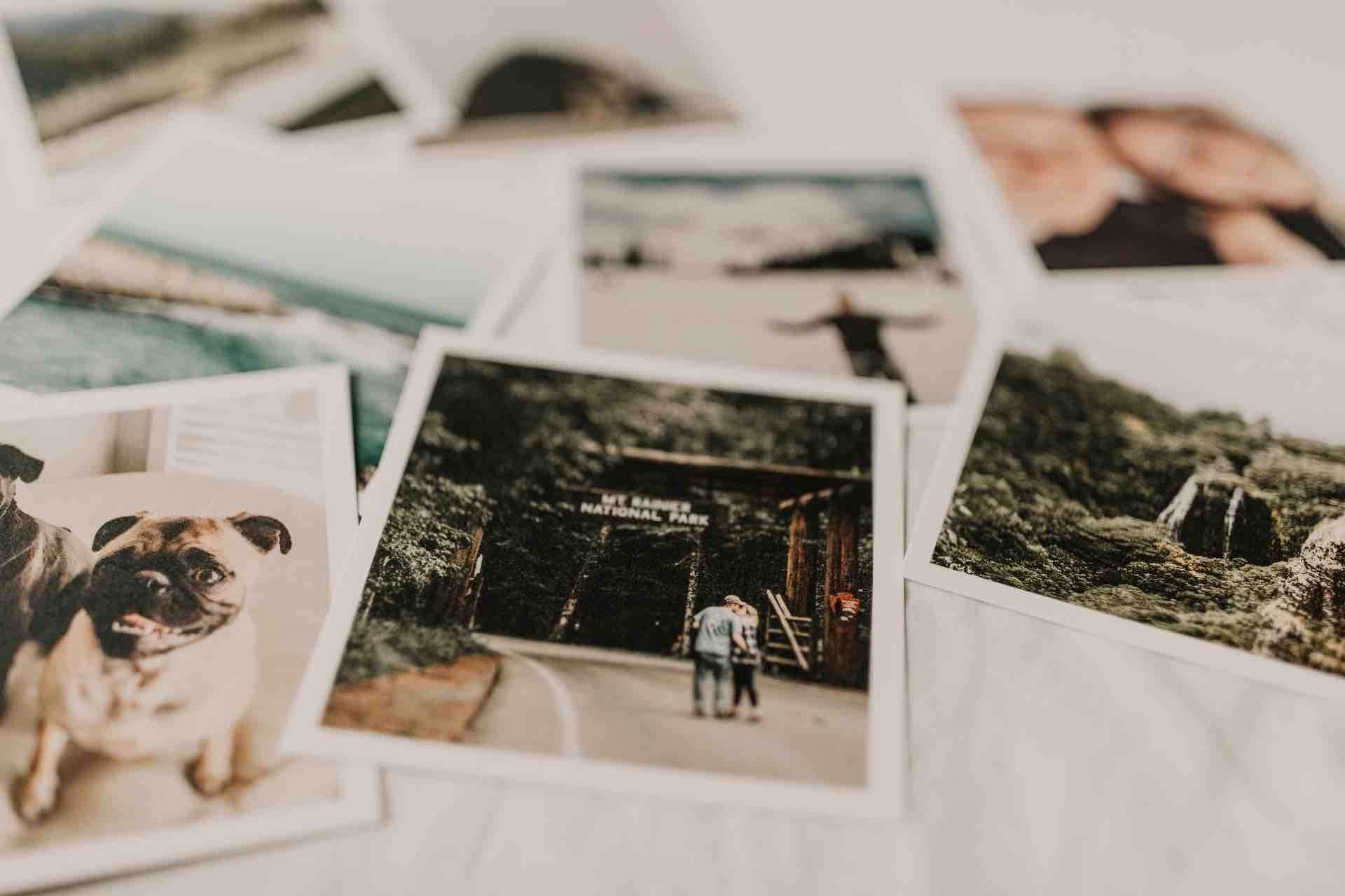 photos souvenirs polaroid fond blanc