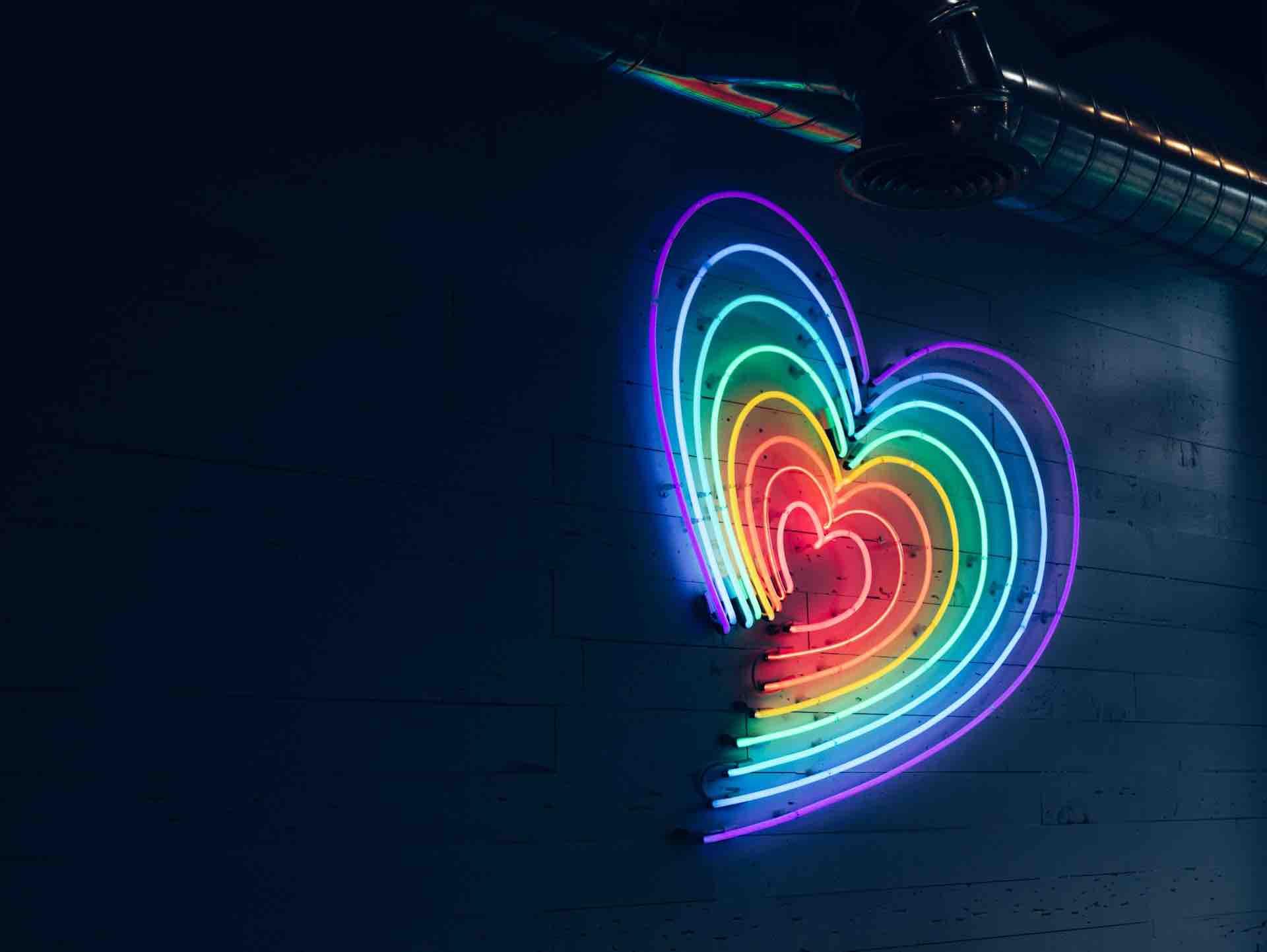 arc-en-ciel couleurs coeur lumière