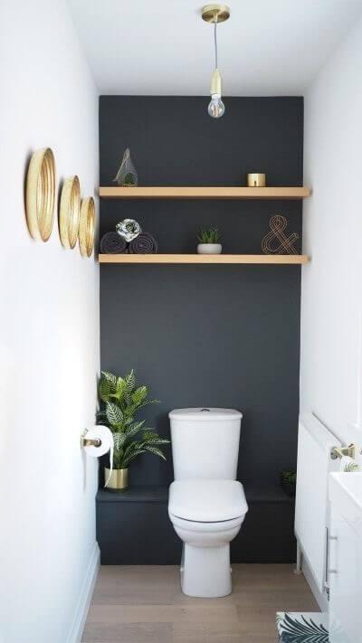 toilette salle de bain mur foncé déco intérieure