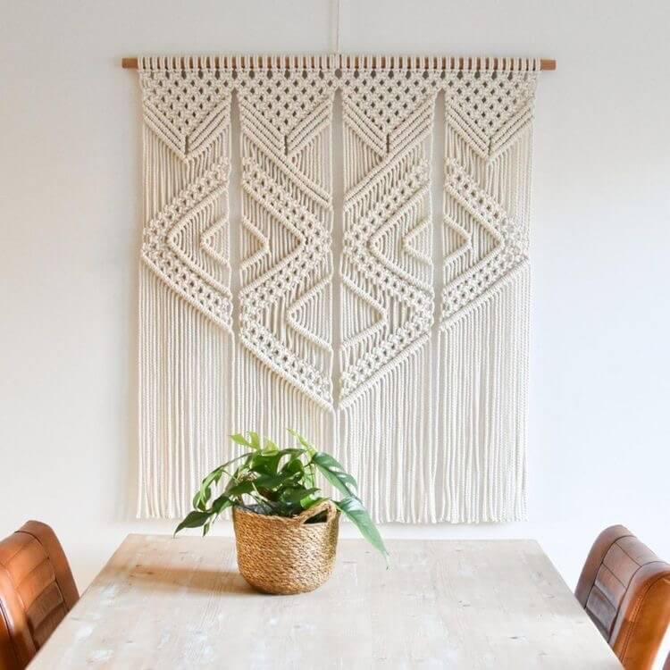 macramée beige mur déco maison intérieure
