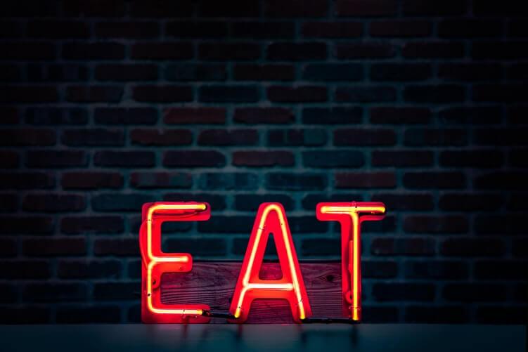 Eat, Led, néons, rouge, sombre, mur de brique